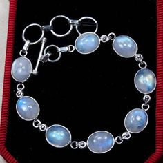 "Moonstone Bracelet,Sterling Silver Bracelet Gemstone Bracelet Genuine Rainbow Moonstone Jewelry -Crystal Birthday Gift Bracelet 8 1/4""-S1224 by DIYJewelrysale on Etsy"