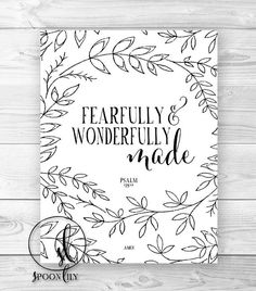 Nursery Bible Verse Art Print, Scripture Art, Christian Wall Decor, Inspirational Wall Art, Fearfully and Wonderfully Made Psalm 139:14 on Etsy, $15.00
