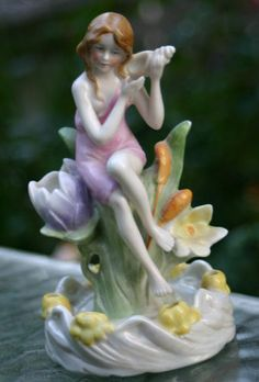 Antique Flower Frog WATER NYMPH Porcelain Figurine GERMAN Art deco/Nouveau | eBay