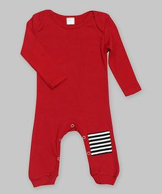 Another great find on #zulily! Tesa Babe Red & Black Stripe-Patch Romper by Tesa Babe #zulilyfinds