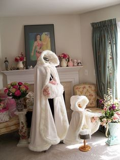 Classic Bridal cape Ivory / Ivory Satin wedding by capeandcrown13, $149.00