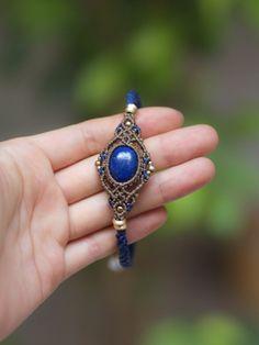 Macrame braided anklet lapis lazuli (Afghan) STONES SPIRIT Stones Spirit Stone × macrame accessories shop