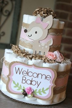 2 Tier Pink Deer Woodland Diaper Cake, Girl Woodland Baby Shower, Deer Centerpiece, Decor, Burlap Lace, Woodland Animals, Oh Deer, Oh Baby by BabeeCakesBoutique on Etsy https://www.etsy.com/listing/559877600/2-tier-pink-deer-woodland-diaper-cake