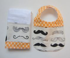 Baby Bib Burp Cloth Set / Moustache Baby