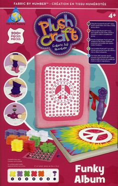 Plush Craft - Fabric By Number Kit - Funky Album.     Has 200+ pieces. Using the included Plush Craft stylus punch, colorful fabric and make a totally groovy album.     Create a funky fierce album! Punch pretty fabric to make a no-sew craft. For children 4years old and older.