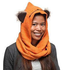 From Thinkgeek:  Wrap yourself in a Star Wars Ewok Knit Hooded Scarf both to stay warm and to express your Star Wars fandom in the most kawaii way possibl