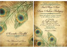 Vintage Peacock Wedding Invitation Set Fancy door MyBigDayDesigns
