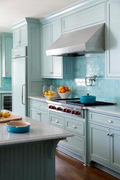 Blue Subway Tile Backsplash   HGTV >> http://www.hgtv.com/design-blog/design/best-kitchen-backsplash-pictures?soc=pinterest