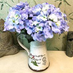 Artificial Silk Flower Hydrangea Bouquet Bridal Wedding Home Diy Decor Blue