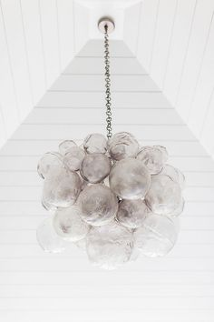 "Southern Home with Neutral Interiors - ""Hand-blown Glass Chandelier"" (Oly Studio Muriel Chandelier)"