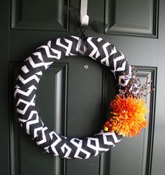 Black Chevron Fall Wreath by LiveSimplyHappy on Etsy, $36.00