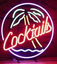 COCKTAILS PALM TREE REAL GLASS NEON LIGHT BEER BAR PUB SIGN T825