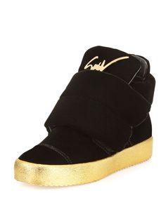 Men's Two-Strap Velvet High-Top Sneaker, Black by Giuseppe Zanotti at Neiman Marcus.
