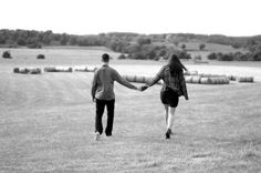 Black & White Walking Away Hay Bales Engagement Shoot Jess Hind Photography