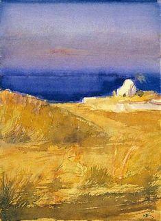 Sifnos island by Panagiotis Tetsis Painter Artist, Artist Art, Greek Paintings, Street Art, Sculpture Painting, Contemporary Landscape, Color Of Life, Conceptual Art, Art Techniques