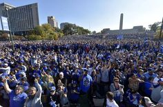 The massive crowd gathered around Union Station for Tuesday's rally, erupts as the Kansas City Royals players and coaches take the stage.
