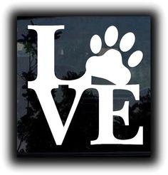 Love Your Dog Puppy paw print Custom Decal Sticker  http://customstickershop.com
