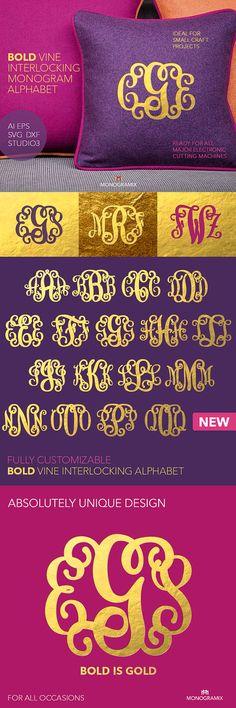 Bold Vine Interlocking Monogram Alphabet (Ai, EPS, SVG, DXF, Studio3) Monogram Letters, Cut files for Silhouette Studio, Cutting Machines