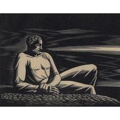 "Rockwell Kent - ""The Far Horizon"" Wood engraving, 5 in. x 6 in. Rockwell Kent, Scratchboard, Wood Engraving, Life Drawing, Portrait Art, Portraits, Woodblock Print, American Artists, Art World"