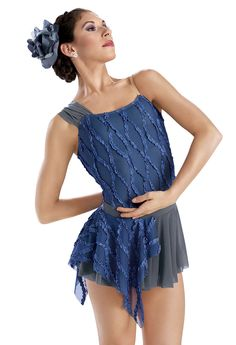 Ribbon Mesh Asymmetrical Leotard -Weissman Costume perfect for a contemporary dance