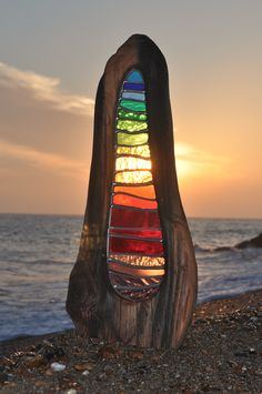 Louise V Durham stained glass sculpture Shoreham by Sea