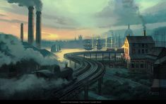 """""""We'll no doubt have more stuff from Syndicate to show off in the weeks ahead as more of Ubisoft's artists share their work on the game."""" That was me, yesterday. Maybe """"weeks ahead"""" was being overly-pessimistic. Environment Painting, Environment Design, Neo Victorian, Matte Painting, Horse Drawn, City Streets, Assassins Creed, Dieselpunk, Concept Art"""