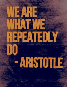 We are what we repeatedly do.~Aristotle