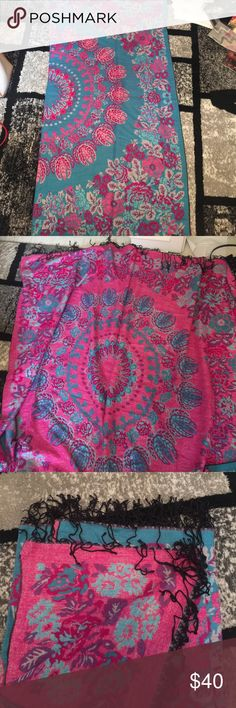 Bohemian wool blanket- two sided with tassels Beautiful big and light woolen blanket that has tow sided patterns with opposite colors. Bohemian style, Urban Outfitter, Free People style. Other