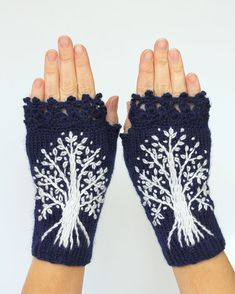 Hand Knitted Fingerless Gloves, Dark Blue, White Trees, Gloves & Mittens, Gift Ideas,For Her, Winter Accessories,MADE TO ORDER In Your Color