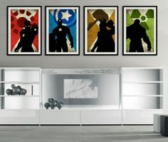 "The 4 Avengers - Captain america, Ironman, Hulk, Thor - super hero minimalist art movie poster prints 4 x 11""x17"" on Etsy, $50.00"