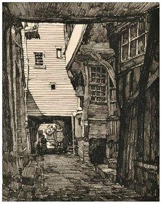 Samuel V. Chamberlain (1875-1975, American) - An alley in Pont-Audemer - 1924