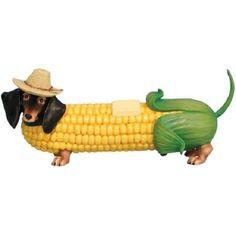 hot diggity dog figurines | about Hot Diggity Buttered Corn Corndog Dachshund Farmer Dog Figurine ...