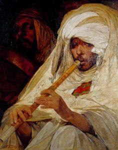 Peinture Algérie - Les musiciens von Jules (Pierre) van Biesbroeck