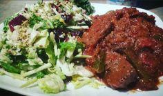 Deer stew meat and super food salad
