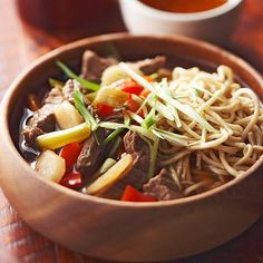 Prepare this Asian-inspired #teriyaki #beef noodle soup in the #slowcooker for a tasty home-cooked meal.