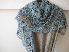 This triangle shawl is lacy and stylish. (Lion Brand Yarn)