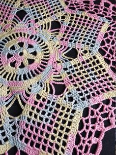 New melange crochet doily inches-crochet tablecloth-crochet doilies-christmas gift-melange doily-medium doily-pink doily Crochet Mandala Pattern, Crochet Lace Edging, Thread Crochet, Crochet Doilies, Hand Crochet, Crochet Flowers, Crochet Ripple Blanket, Crochet Blanket Patterns, Crochet Tablecloth