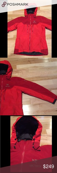 Arc'teryx Ski Parka This is the best ski jacket ever! Gore-Tex exterior, water and wind proof, synthetically insulated and incredibly warm without being bulky. Awesome red color with lots of zippers and a large hood for fitting over a helmet. This is an incredible brand with high quality products! This is in gently used condition with some slight discoloration upon close inspection of the sleeves. Arc'teryx Jackets & Coats Puffers