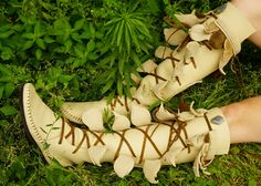 5a945593495 Cream Knee High Forest Boot Moccasin with Seed Of Life Pockets