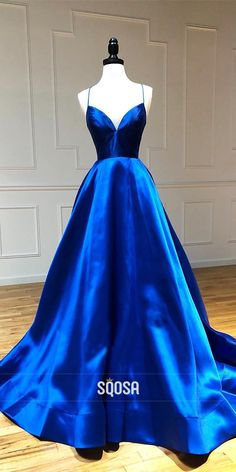Royal Blue Satin V-neck Spaghetti Straps A-Line Simple Prom Dress QP1063 Product ID QP1063 Silhouette A-Line Neckline V Neck Hemline/Train Sweep Train Sleeve Length Sleeveless Fabric Satin Back Details Criss Cross Embellishment Pleat Occasion Prom,Evening,Homecoming,Party,Pageant,Wedding #Prom #Prom2k20 #prom2020 #promdresses #spring2021 #homecoming2020 #fall2020 #prom2021 #prom2k21 #dresses #homecoming #homecomingdress #pageant #formal #formaldress #gowninspiration #gown #eveninggowns Prom Dresses Long Open Back, Simple Prom Dress, Prom Dresses For Teens, Cute Prom Dresses, Prom Dresses Long With Sleeves, Pretty Dresses, Dress Long, Formal Dress, Pageant Dresses