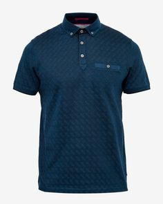 Jacquard polo shirt - Teal | Tops & T-shirts | Ted Baker