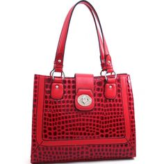 Dasein Women's Boxy Patent Leatherette Croco Embossed Fashion Tote-Red