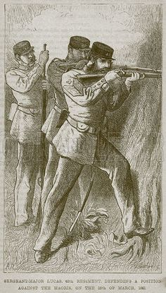 Sergeant-Major Lucas, 40th Regiment, Defending a Postion against the Maoris, on the 18th of March, 1861. Illustration from The Boy's Own Volume (Beeton, c 1860).