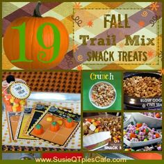 19 Fall Trail Mix Snack Treat Recipes and Menu Plan Monday  from SusieQTpies Cafe  .... should be something for everyone