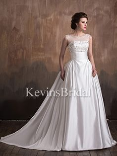 Dropped Waist Ivory Beaded With Trains Traditional Winter Simple Wedding Dress - US$ 167.99 - Style KB2315 - Kevins Bridal