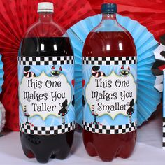 """This one makes you taller, and this one makes you smaller."" But which is which? Alice In Wonderland Large Bottle Labels let you decide!"