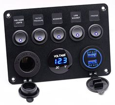 Cllena Dual USB Socket Charger 2.1A&2.1A + LED Voltmeter + 12V Power Outlet + 5 Gang ON-OFF Toggle Switch Multi-Functions Panel for Car Boat Marine RV Truck Camper Vehicles GPS Mobiles (Blue)
