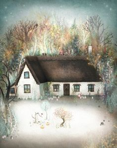"""Lisa Evans, """"Peta's House"""".  There are--tiny owls everywhere--and I'm pretty sure--little white sprites of some kind.  This is wonderful. *_*  (edit: Oops.  I've learned they are not tiny owls.  They are tiny monsters.  And I think that might make them funnier.)"""