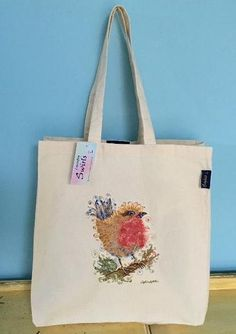 Range of gifts designed by Sophie Appleton Artist. Printed and Embroidery Tote Bags. Swirls, Robin, Reusable Tote Bags, Embroidery, Country, Gifts, Needlework, Needlepoint, Presents