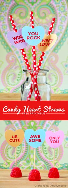 Free Candy Hearts Printable || So many ways you can use this free valentine's Day Printable!